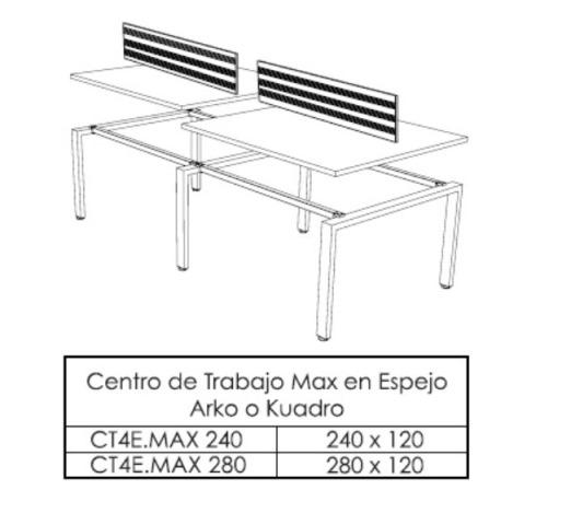 Centro de Trabajo Espejo Recto Max 240 280 x 120 3 1