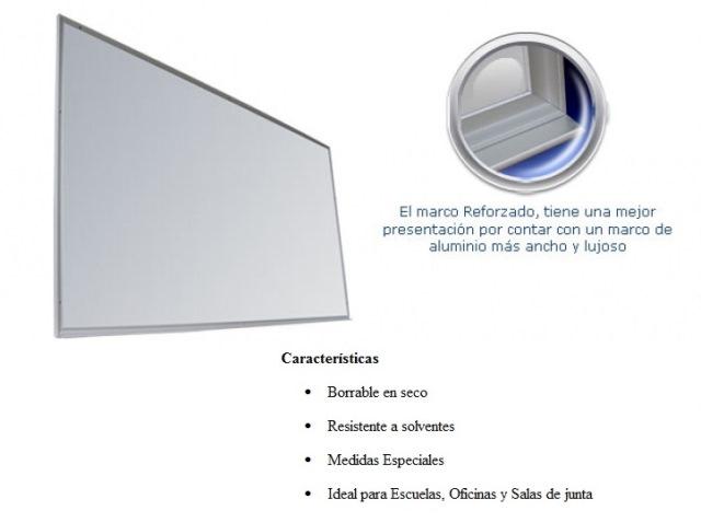 Pizarron Blanco Plumin Reforzado-Medidas 0.90 x 1.50