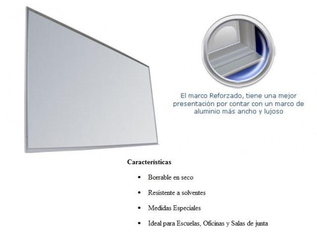 Pizarron Blanco Plumin Reforzado Medidas 1.20 x 2.40