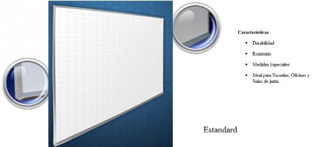 Pizarron Cuadricula Blanco Estandard Medidas 1.20 x 2.40