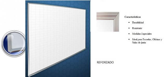 Pizarron Cuadricula Reforzado Blanco Medidas 1.20 x 1.80