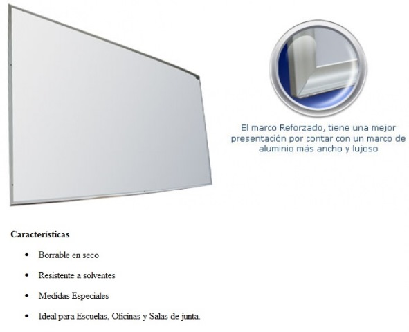 Pizarron Magnetico Reforzado Blanco Medidas 0.90 x 1.20