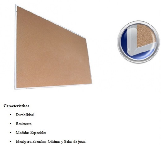 Pizarron de Corcho D Luxe Standard 1.20 x 2.40
